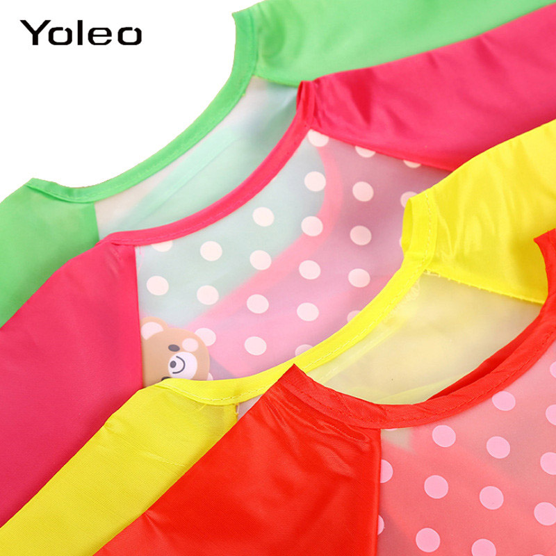 Children Long Sleeve Apron Coverall Feeding Bibs