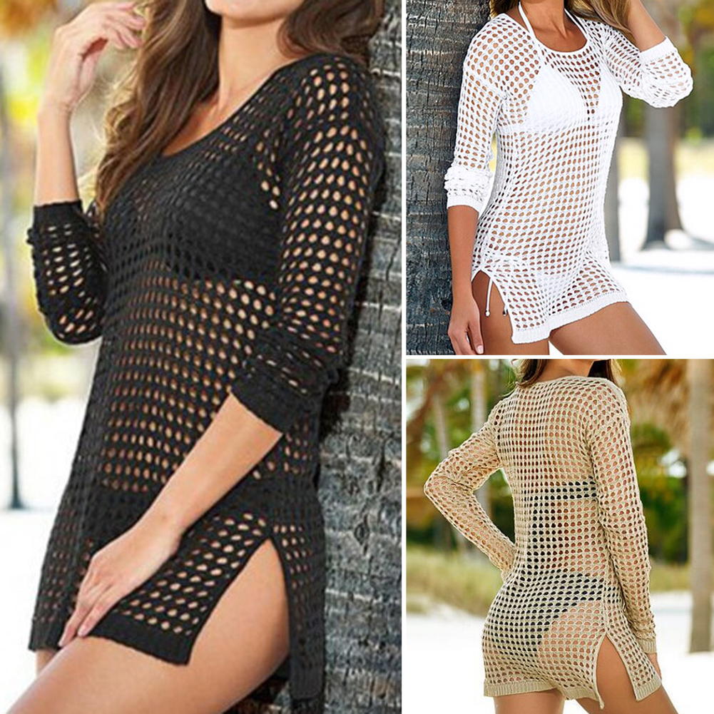 one piece Pareo Beach Cover Up Women Sexy Shirt Long Sleeve Bikini Hollow Cover Up Robe De Plage Beach Cardigan Bathing Suit 2