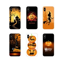 Silicone Phone Shell Cases Happy Halloween Fabric Pumpkin For Samsung Galaxy S4 S5 MINI S6 S7 edge S8 S9 S10 Plus Note 3 4 5 8 9(China)