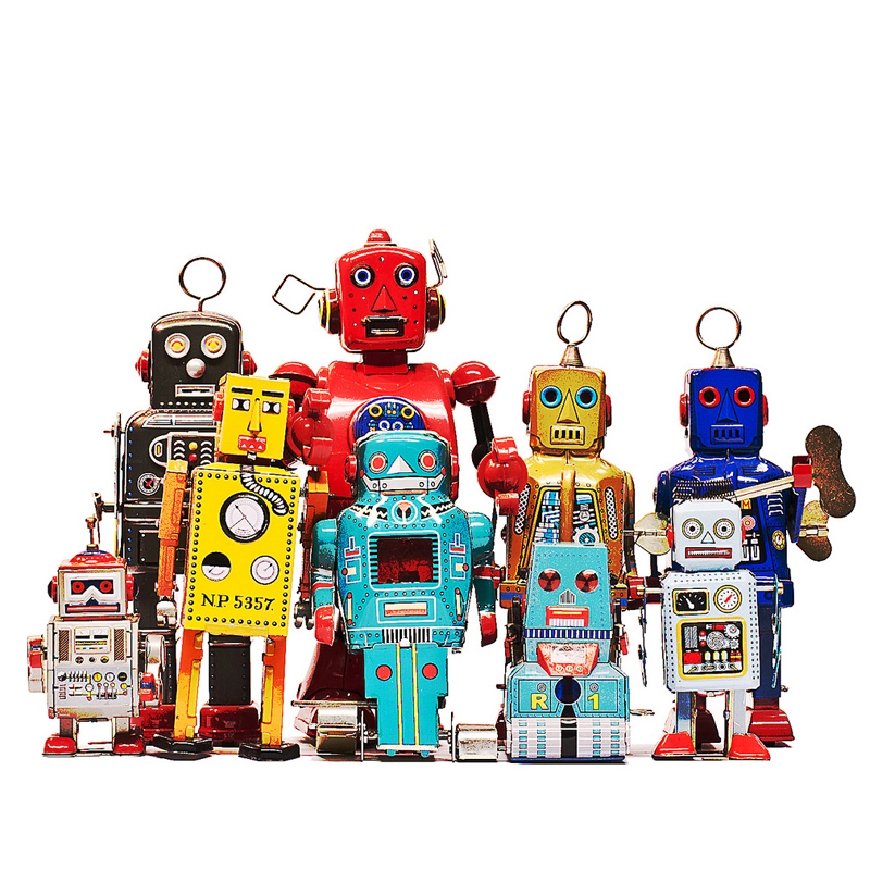 Classic Retro Clockwork Robot Boring Toy Mechanical Driven Chain Toy For Children Gift