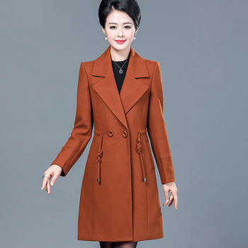 Autumn Women Woolen Coat 2018 New 40-50 Years Old Middle-Aged Female Woolen Coat Thin High-Grade Large Size Lady Outerwear Cw160