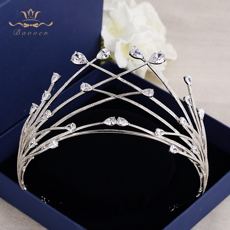 все цены на Bavoen European Oversize Silver Sparkling Zircon Bridal hairbands Crystal Crown Tiara Wedding Dress Hair Accessory Prom Jewelry онлайн