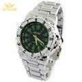 Novo Ponteiro Moda Fluorescente Homens de Aço Completo Relógio de Quartzo de Marcação Verde C1296