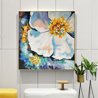Hand painted beautiful floral Pictures blue flowers Oil Painting Modern abstract Living Room Wall Decor Painting on Canvas