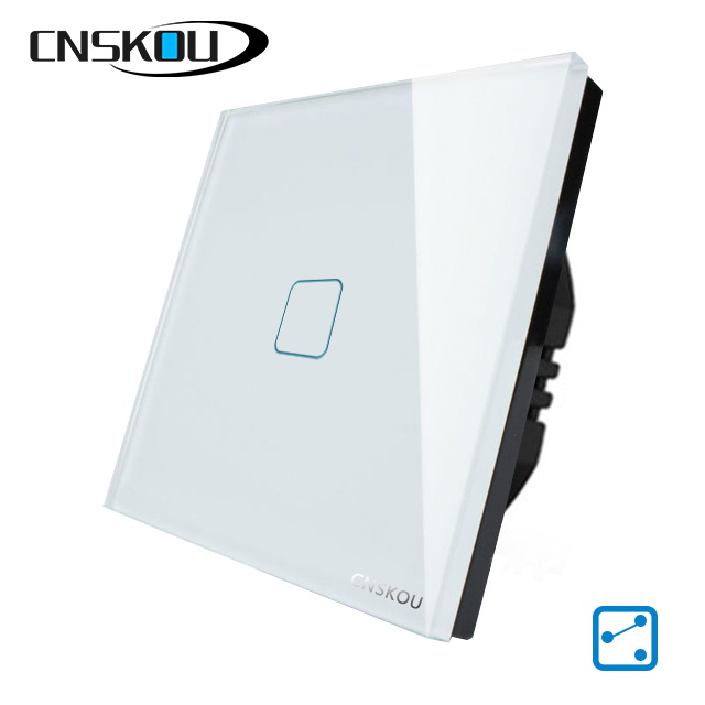 CNSKOU SMART HOME EU/UK TOUCH SWITCH 1GANG 2WAY CRYSTAL GLASS PANEL SCREEN WALL LIGHT SWITCHES sankou mirrors touch switches 3gang1way luxury golden crystal glass panel switch uk standard ac220v 110v smart home automation
