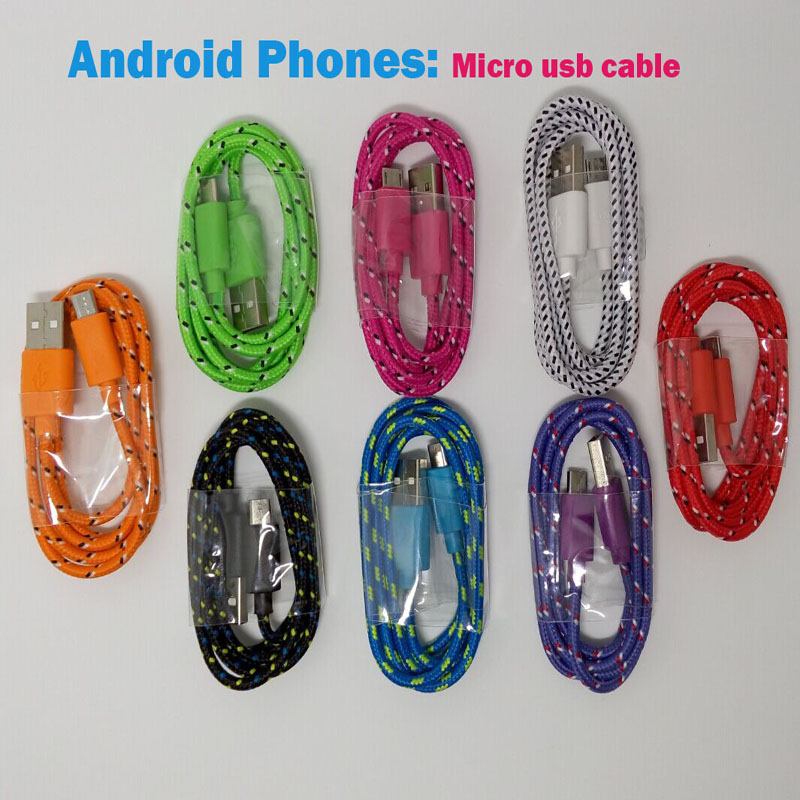 Nylon Micro font b usb b font Charger Cable data sync Cord Line for Samsung S7
