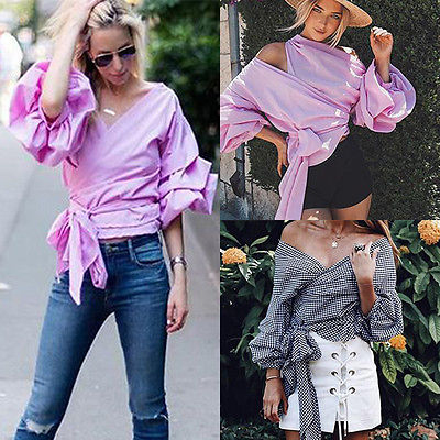 49830ebafd654 New Women Bardot Top Ruffle Sleeve Waist Tie Cross Off Shoulder Shirt V  neck Black and Pink Blouse-in Blouses   Shirts from Women s Clothing on ...