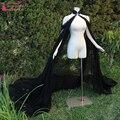 Черный шифон Длинный Мыс элегантной Моды Высокая Шея болеро novia болеро для свадебное Куртка Для Женщин Дешевые Z901