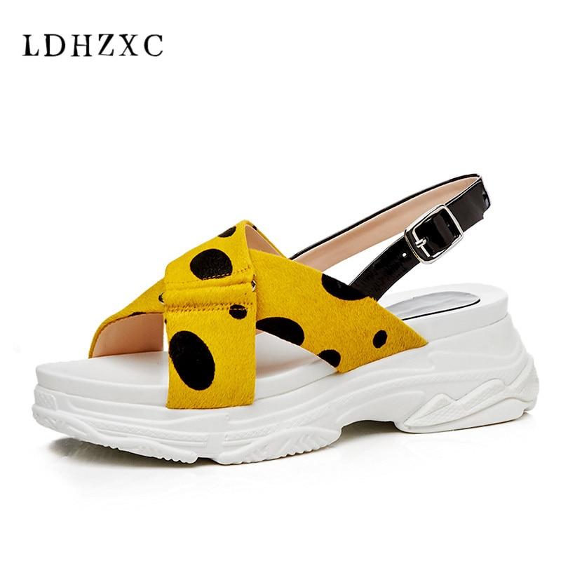 Chaussures Sandales 2018 Ldhzxc La Cuir Occasionnels Femelle Main jaune D'été Véritable Mode Plat Blanc Gladiateur À Femmes En Nouveau Rjq4L3A5
