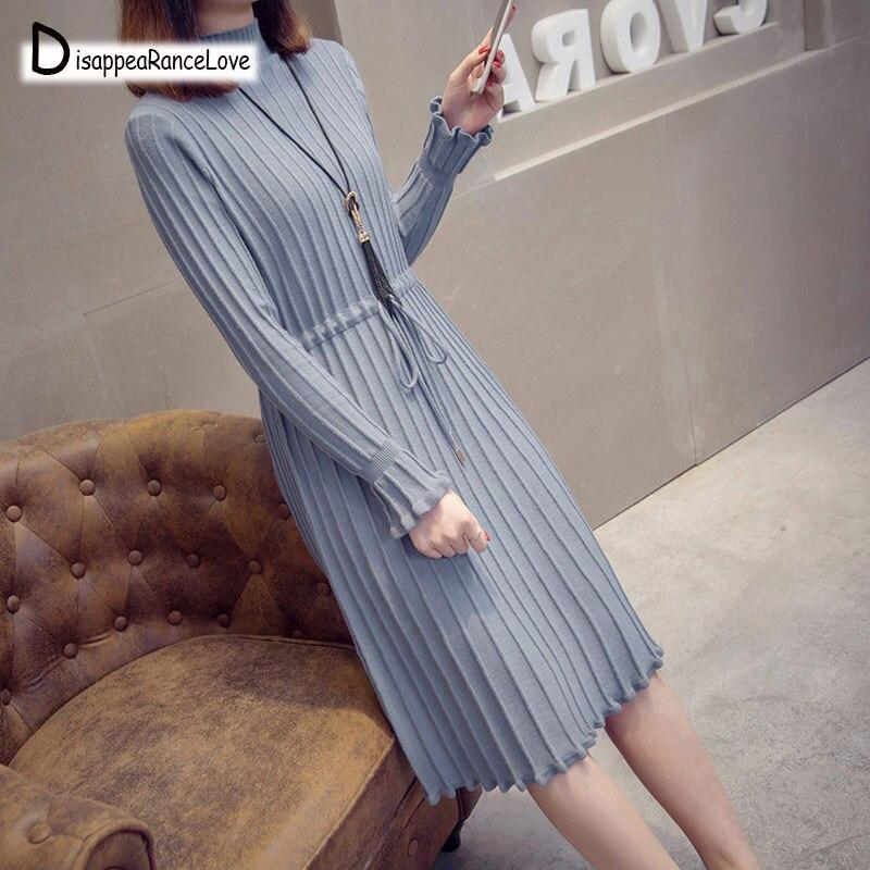 2019 femme élégant automne hiver pull à col roulé robe solide femmes longue épaisse robe pull à manches longues robe en tricot