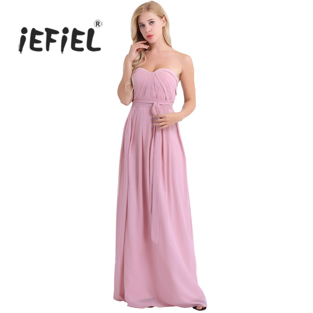 8db441349546c 3 Color Women Ladies Hot Summer Dress Strapless Pleated Chiffon Elegant  Long Dress Evening Vestido Party Prom Gown Maxi Dress-in Dresses from  Women's ...
