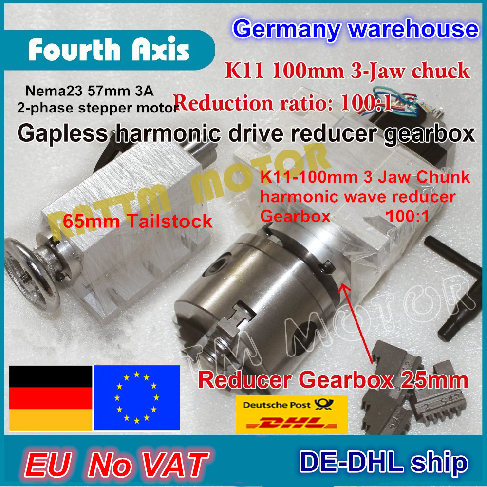 DE ship/free VAT 4th rotary axis Gapless harmonic reducer Gearbox 3 jaw K11 100mm dividing head&Tailstock for CNC ROUTER MACHINE