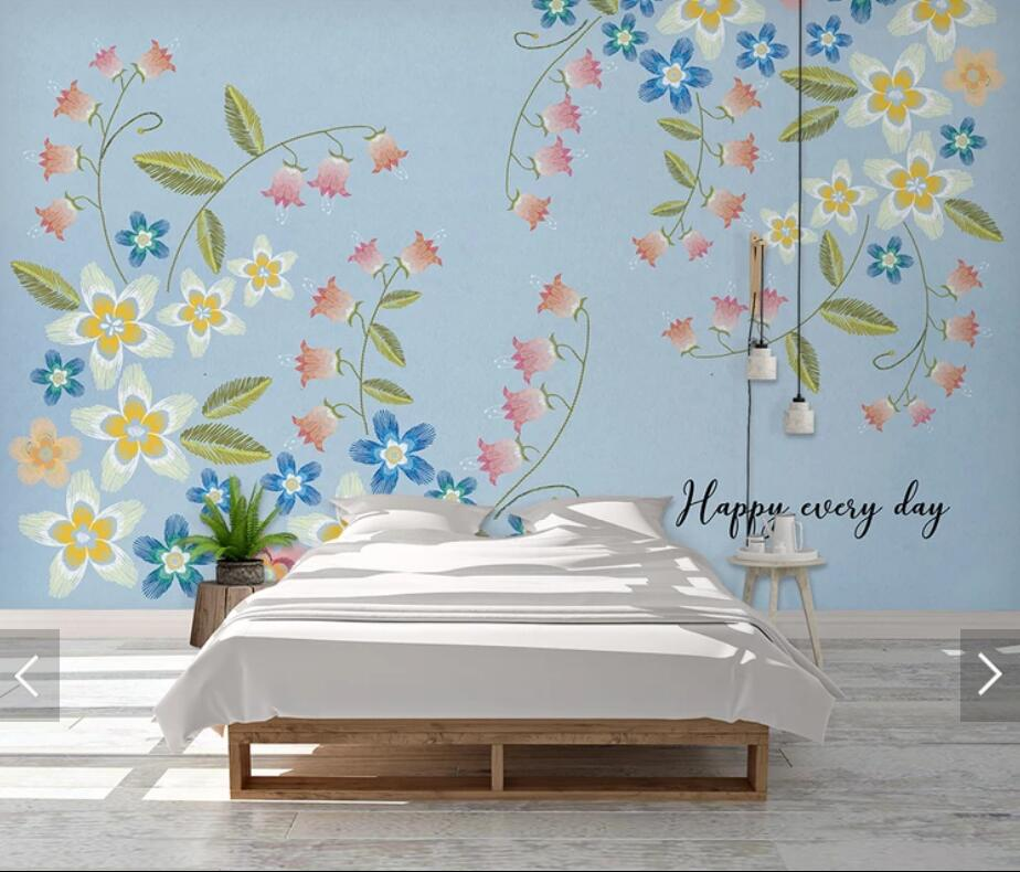 3D Modern Blue Flower Wallpaper Wall Mural For Living Room Bedroom Contact Paper Wall Papers Roll Floral Murals Customize