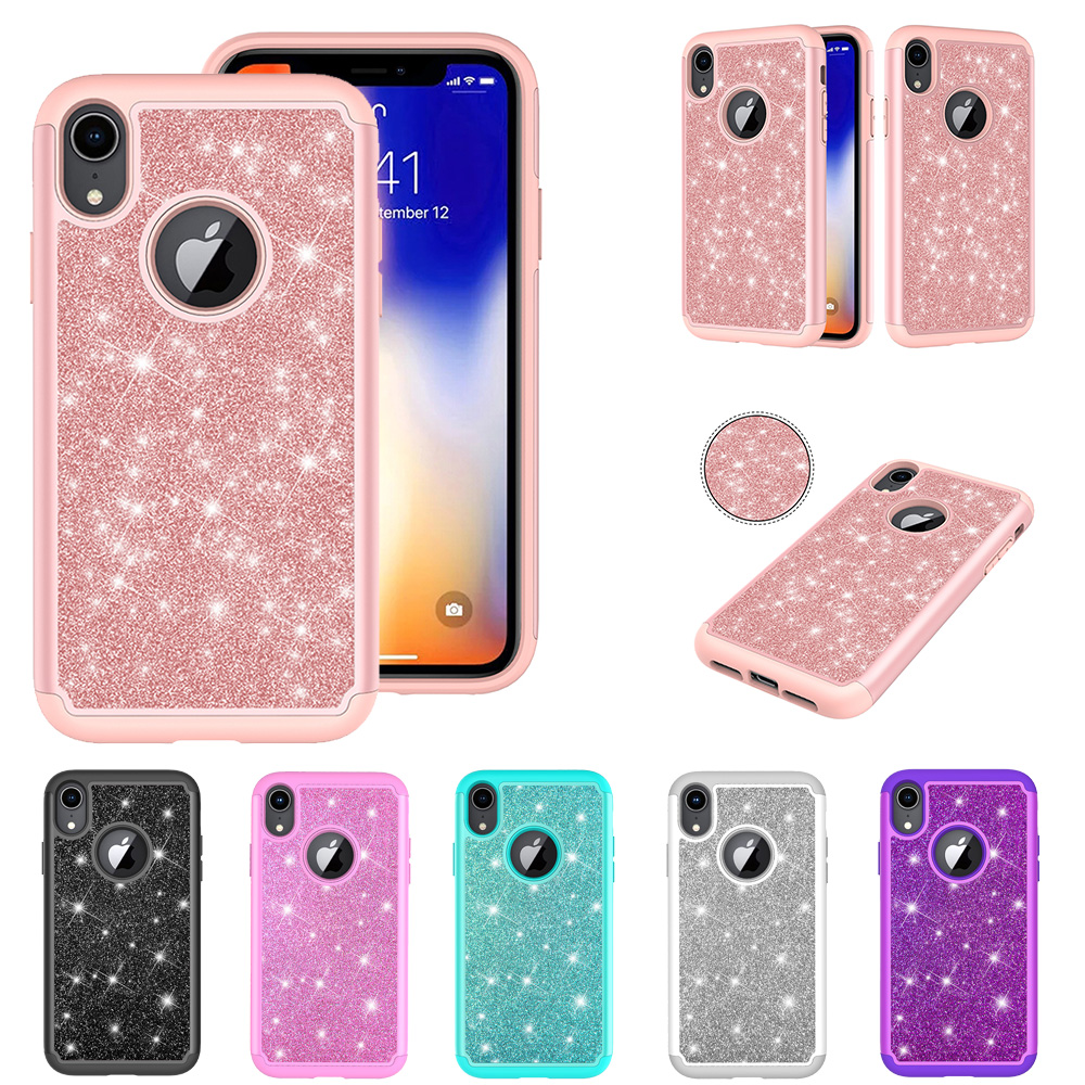 HYYGEDeal Bling Phone cases for iphone XR Glitter Hybrid