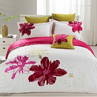 FADFAY White Purple Hot Pink Luxury Bedding Sets Flower Embroidery Duvet Covers Romantic Girls Full Size Bed Sheets Set 6pcs