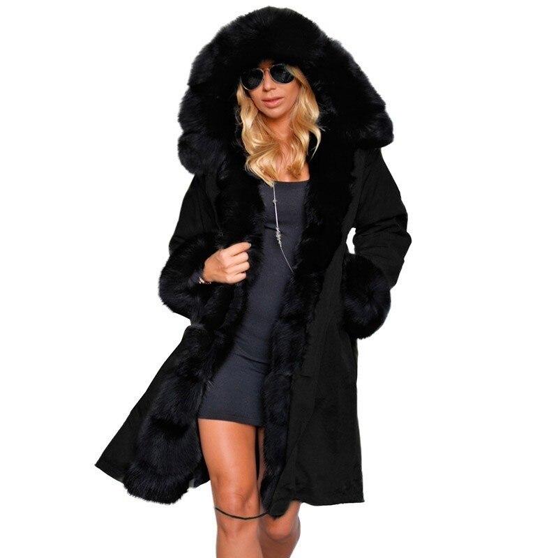 b53595c601 US $44.8  Ruiyige 2018 di Inverno Delle Donne Con Cappuccio del Cappotto  Collo di Pelliccia Caldo Cappotti Lunghi Femminile Parka Giacca da Donna ...