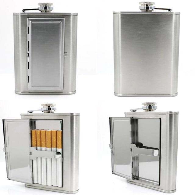 Multipurpose 6oz Cigarette Case Flagon Stainless Steel Hip Flask Funnel Whiskey Liquor Alcohol  Wine Pot Bottle For Drinker