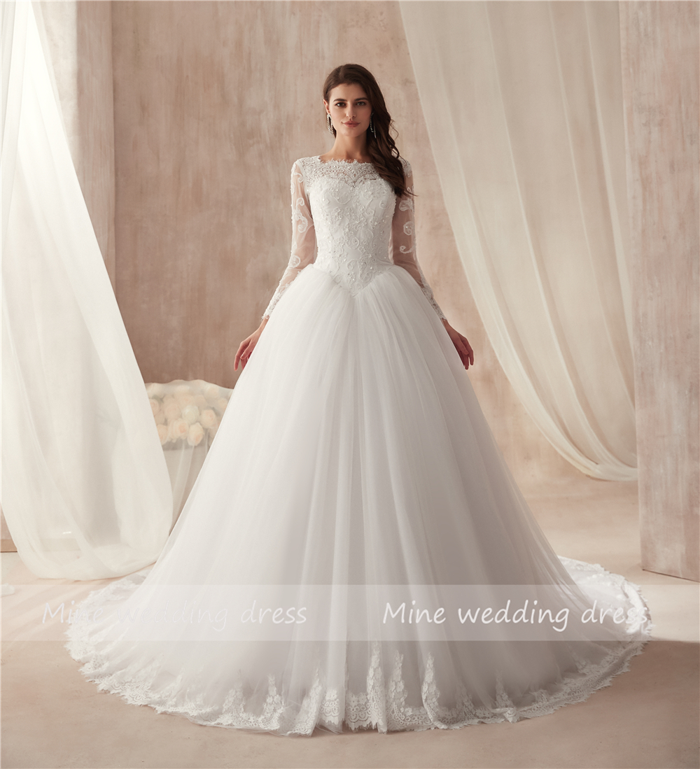 Sheer High Neck Long Sleeve White Tulle Ball Gowns Wedding Dress with Crystals Bandage/Lace Up Bridal Dress vestidos de novia