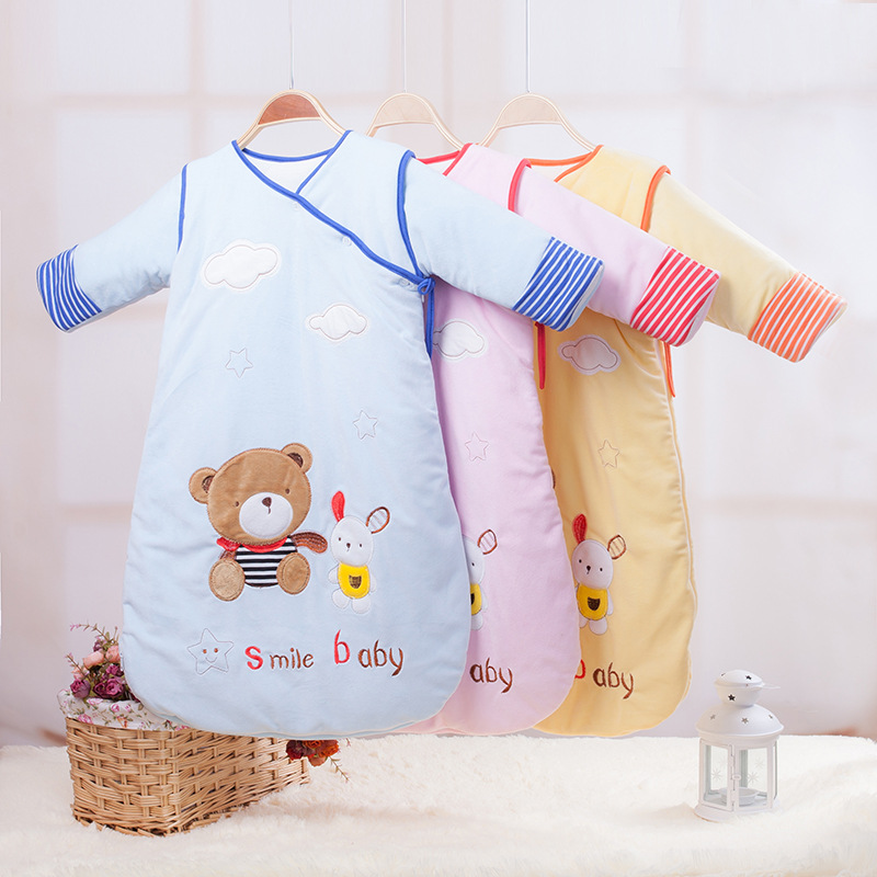winter warm children kids child sleeping bag high quality cotton infant newborn cartoon bear baby sleeper