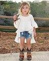 2017 nova primavera e verão das crianças princesa vestido flouncing vestido em frete grátis