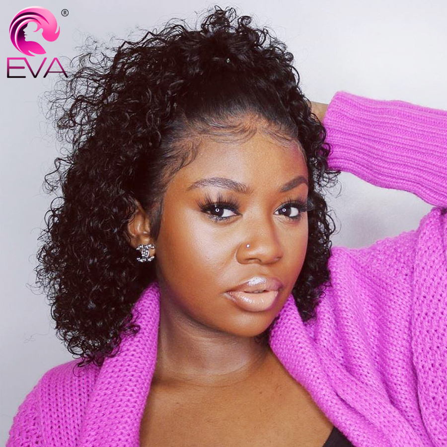 Eva 13x4 Short Curly Lace Front Human Hair Wigs Pre Plucked With Baby Hair Brazilian Lace Front Wigs For Black Women Remy Hair