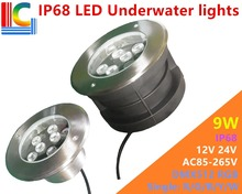9W LED Underwater Light 12V DMX512 Control RGB color change Waterproof IP68 Swimming Pool Lights 24V single color Fountain Lamp new 9w led underwater light 12v 24v 110v 220v 85 265v outdoor ip68 waterproof buried lights dmx512 color swimming pool light ce