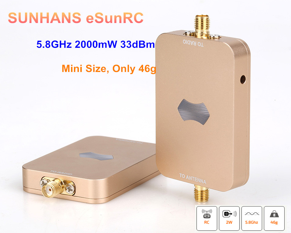 100% Genuine 10 Pieces Sunhans ESunRC SH-RC58G2W UAV WiFi Signal Booster 5.8GHz 2000mW 33dBm Wireless Signal Amplifier