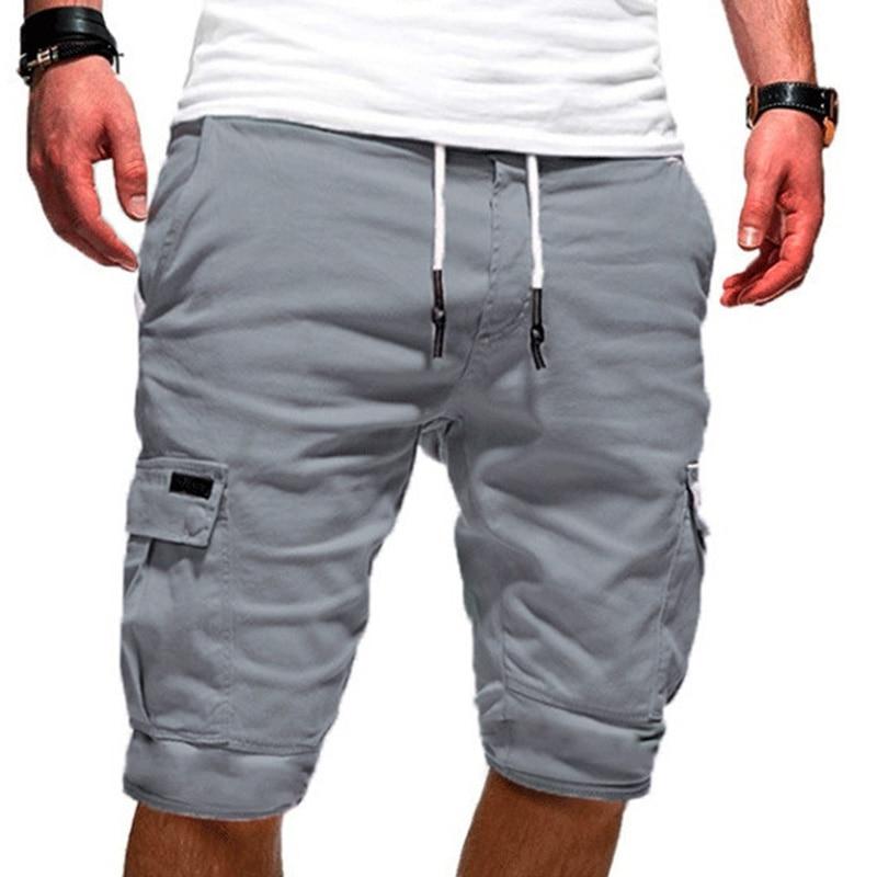Men Half Pants Multi-pockets Loose Breathable Jogging Male Casual Sport Gyms Shorts Pants Sweatpants For Summer Homme