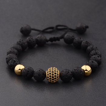 DOUVEI Round Black CZ Zircon Pave Lava Weaving Bracelet Men Beads Weaving Bracelet Homme Adjustable Dropshipping ABL005