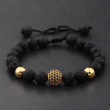 DOUVEI Round Black CZ Zircon Pave Lava Weaving Bracelet Men Beads Homme Adjustable Dropshipping ABL005