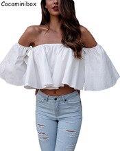 Cocominibox Women's Apparel Sexy Off Shoulder Cotton Blouse Shirt Summer Spring Ruffles Tube Tops Beach Causal Blusas