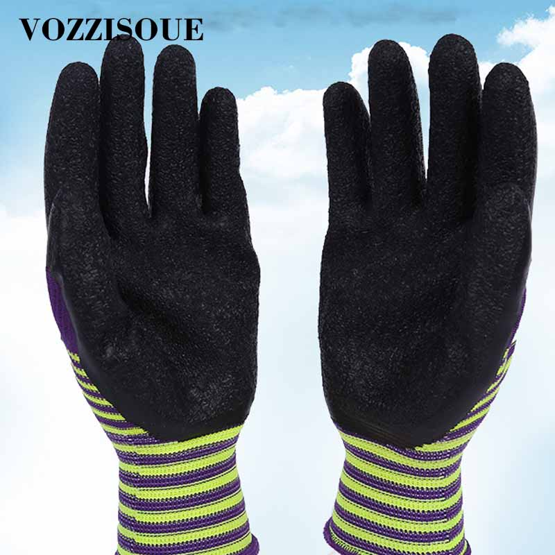 Wear Resistant Garden Working Gloves For Men Or Women With Colorful Polyester Black Foam Latex Non-slip Safety Protective Gloves