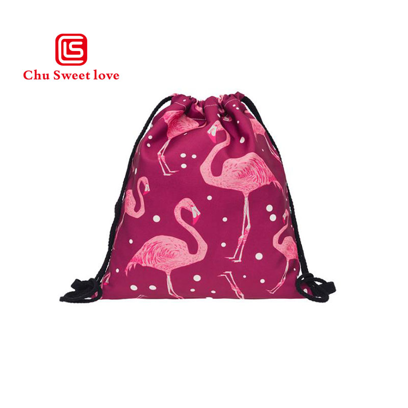 New AliExpress Hot Red 3D Print Flamingo Drawstring Shopping Drawstring Drawstring Bag Women s Backpack Bundle