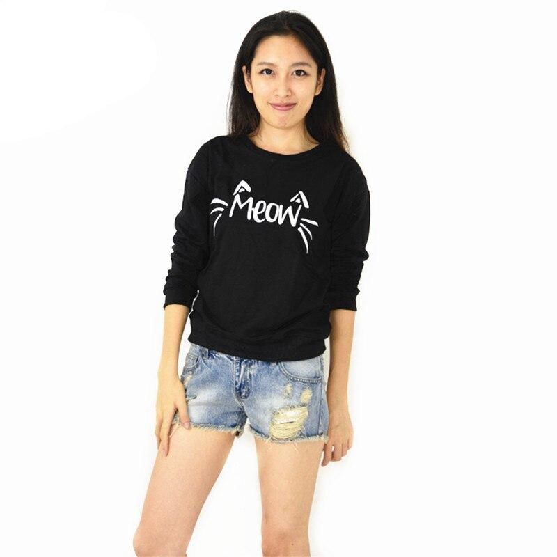 XINSHOWS 2016 New Hoodies Autumn Korean version of the new star meow cute black cat gray fleece female hedging Sweatshirts