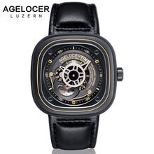 Relogio masculino Novo AGELOCER Automatic Relógios Mecânicos Homens Relógio de Couro Genuíno Cinta 50 m Resistência À Água