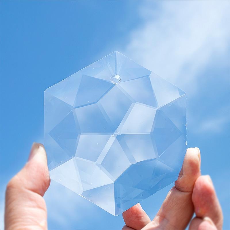 H&D 100mm Glass Crystal Chandelier Pendant Craft Art Rainbow Hexagram Prism Suncatcher Hanging Ornament Fengshui Xmas Gift Decor