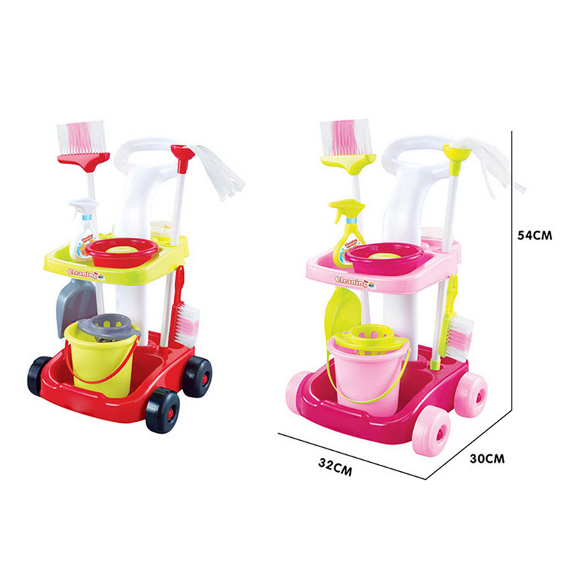 Children Cleaning Toy Set Role Play Girls Housekeeping Pink Sweep Pretend Play Set Kids Educational Toys Mulitfunction DIY Assem