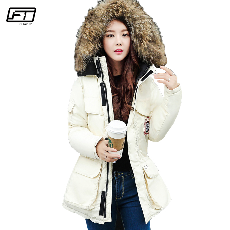 Fitaylor 2017 Winter Warm Jacket Women Fashion Fur Collar Hooded Parka Ropa Mujer Thick Cotton Medium Long Padded Coat bosch bt 170 hd 0 601 091 300