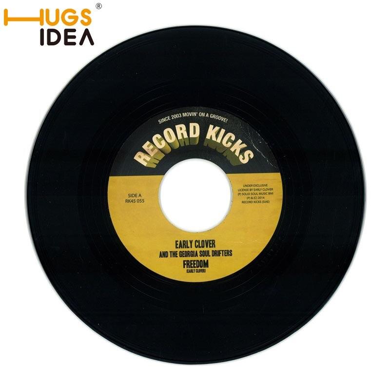 HUGSIDEA Custom Vinyl Record Carpet Rugs Black Round