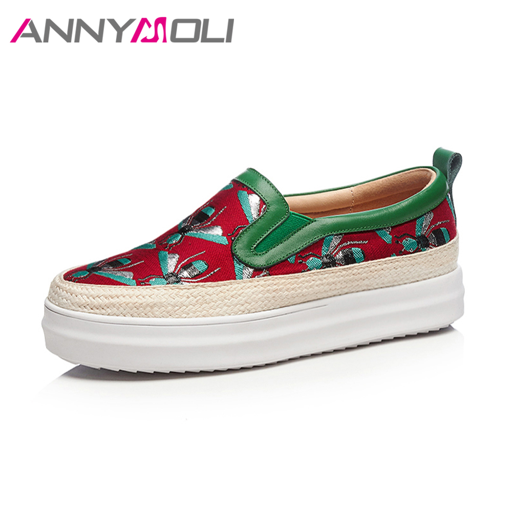 ANNYMOLI Flat Platform Women Genuine Leather Silk Shoes Embroider Spring Shoes Bee Creepers Flower Loafers Slip On Casual Shoes nayiduyun women genuine leather wedge high heel pumps platform creepers round toe slip on casual shoes boots wedge sneakers