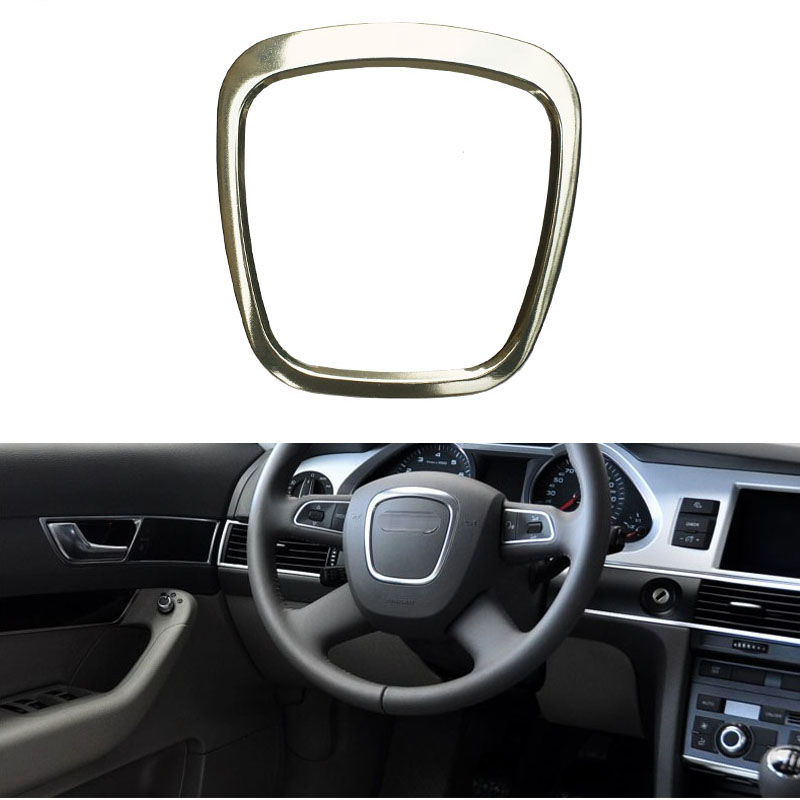 Trapezoid Auto Steering Wheel Sticker Aluminum Emblem Fit For Audi A4L//A6L//Q3//Q5