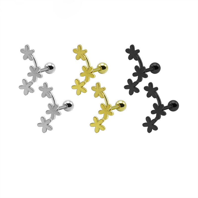 2PCS Fashion Flower Cartilage Earrings Titanium Stainless Steel Silver Gold Black Helix Brincos Pendientes Body Piercing Jewelry0