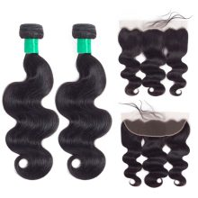 Piaoyi Hair Extensions Brazilian Body Wave Bundles With Frontal Closure 100% Human Hair Bundles With 13x4 lace Frontal Closure(China)