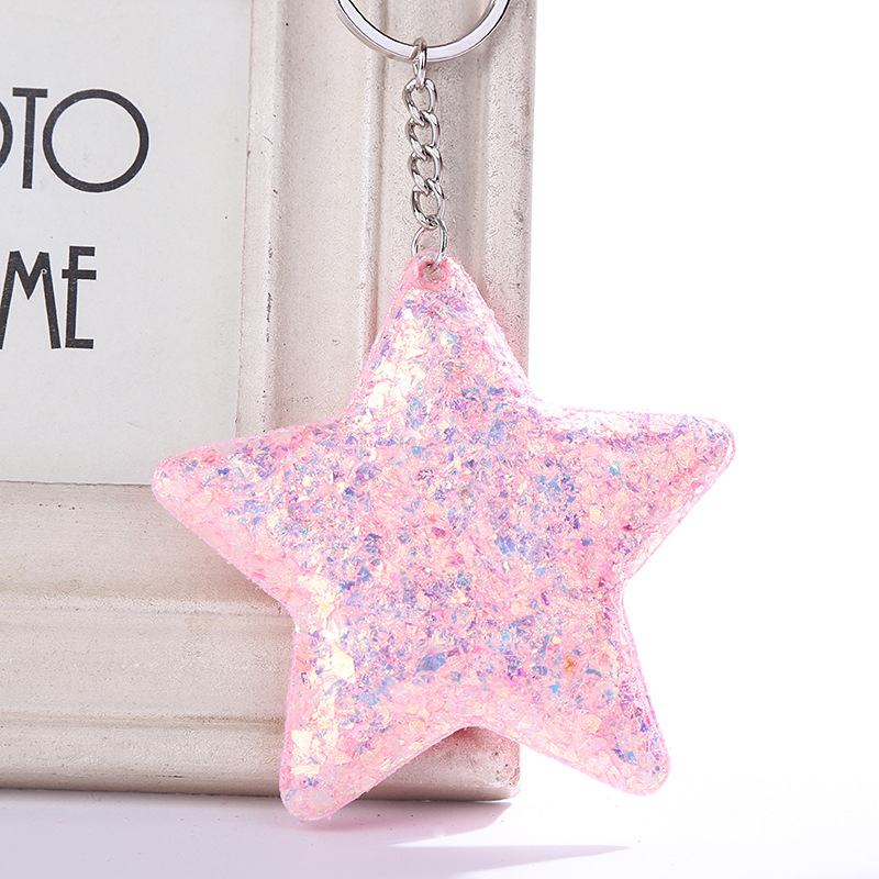 Cute Chaveiro Star Keychain Glitter Pompom Sequins Car Key Chain Gifts For Women Lovers Mujer Car Bag Accessories Key Ring K2200
