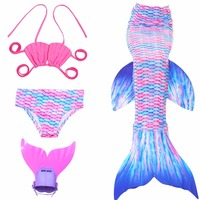 4pcs Set Girl S Mermaid Tails Swimming Costume 2017 Children Mermaid Tail Costume For Kids Swimming