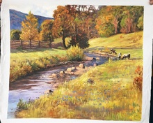 Free shipping handpainted Realist oil painting river grassland wood landscape wall paintings