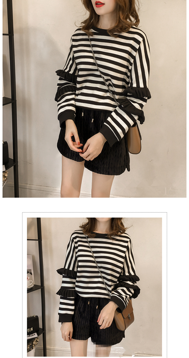 M-4xl Striped Sweatshirt Pullovers Women Plus Size Spring Autumn Ruffles Long Sleeve Tops Casual Harajuku Feminino White Green 12