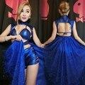 Fêmea traje cantor bar boate vestido sexy nova dança DJ stage cantor show de festa de Dança Jazz azul Cauda envoltório Peito