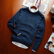 2017 Brand New Autumn And Winter Fashion  Casual Sweater O-Neck  Slim Fit Knitting Warm Sweaters cotton  Pullover Men Pure Color