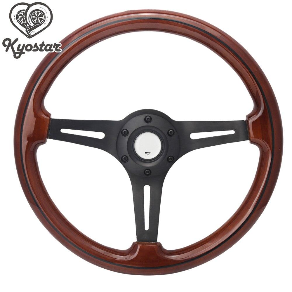 14 Racing Car Wood Steering Wheel with Black Aluminum Spoke Universal 350mm Brown Wood Grain Steering Wheel vintage wood grain steering wheel pillow case